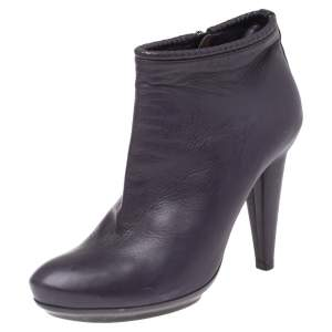 Bottega Veneta Purple Leather Ankle Boots Size 39