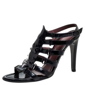 Bottega Veneta Black Patent Leather Cage Sandals Size 40