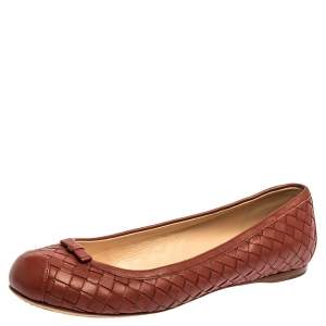 Bottega Veneta Brown Intrecciato Leather Ballet Flats Size 38.5