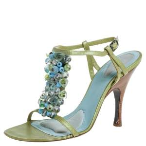 Bottega Veneta Green/Blue Leather Faux Pearls Embellished Open Toe Ankle Strap Sandals Size 38.5