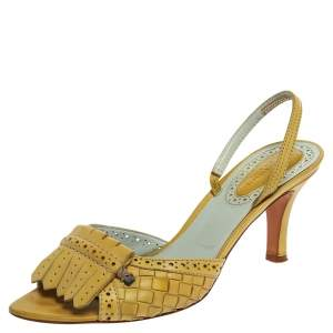 Bottega Veneta Yellow Intrecciato Leather Fringe Detail Open Toe Slingback Sandals Size 41