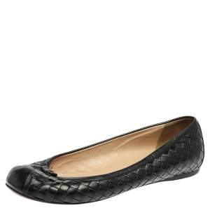 Bottega Veneta Black Leather Intrecciato Ballet Flats Size 39