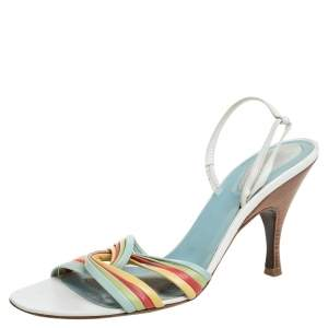 Bottega Veneta Multicolor Leather Criss Cross Slingback Sandals Size 41