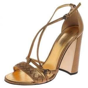Bottega Veneta Gold Intrecciato Leather Block Heel Sandals Size 37.5