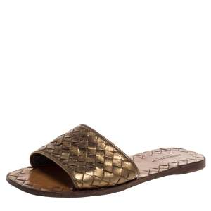 Bottega Veneta Bronze Metallic Intrecciato Leather Flat Slides Size 35