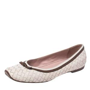 Bottega Veneta White Leather Intrecciato Bow Ballet Flats Size 38