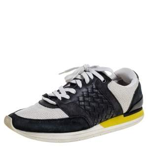 Bottega Veneta White/Black Mesh And Intrecciato Suede Leather Lace Up Low Top Sneakers Size 39.5