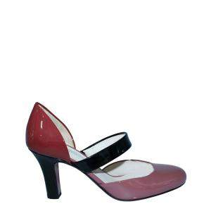 Bottega Veneta Red/Black Patent Leather Bette Pumps Size EU 36
