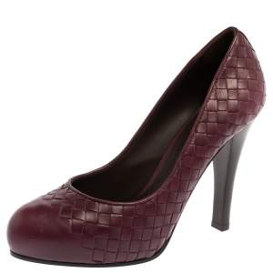 Bottega Veneta Burgundy Intrecciato Leather Platform Pumps Size 39