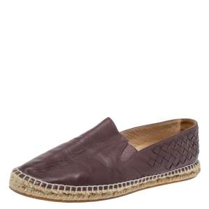 Bottega Veneta Brown Intrecciato Leather Espadrilles Flats Size 36