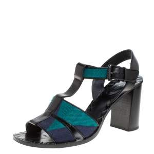 Bottega Veneta Black/Blue Canvas And Leather T-Strap Sandals Size 39