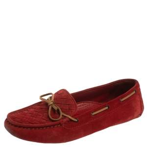 Bottega Veneta Suede Red Intrecciato  Bow Slip On Loafers Size 39