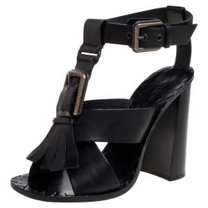 Bottega Veneta Black Leather Fringe Buckle Sandals Size 39