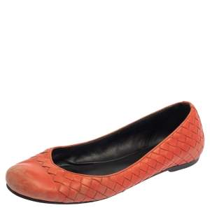 Bottega Veneta Orange Intrecciato Leather Ballet Flats Size 39