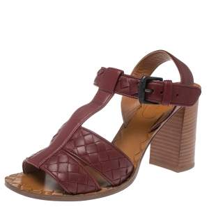 Bottega Veneta Burgundy Leather Intrecciato Ankle Strap Sandals Size 37