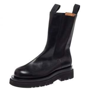 Bottega Veneta Black Leather Platform Chelsea  Boots Size 39