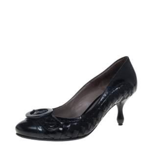 Bottega Veneta Intrecciato Black Patent Leather Buckle Detail Pumps Size 36