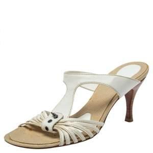 Bottega Veneta White Leather Strappy Sandals Size 36