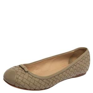 Bottega Veneta Beige Intrecciato Leather Bow Ballet Flats Size 39