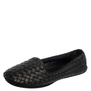 Bottega Veneta Black Intrecciato Leather Smoking Slipper Size 38