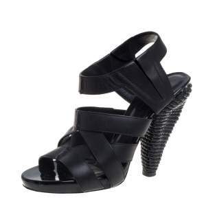 Bottega Veneta Black Leather Strappy Sandals Size 36