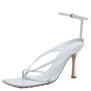 Bottega Veneta White Leather Stretch Sandals Size 40