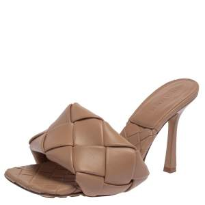 Bottega Veneta Beige Leather Slide Sandals Size 37
