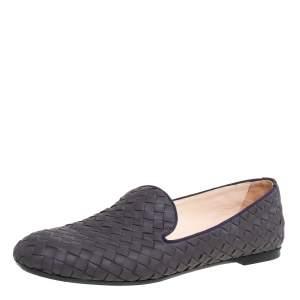Bottega Veneta Purple Intrecciato Leather Smoking Slippers Size 40