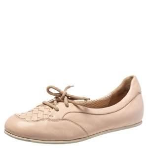 Bottega Veneta Beige Intercciato Leather Lace Up Loafers Size 38.5