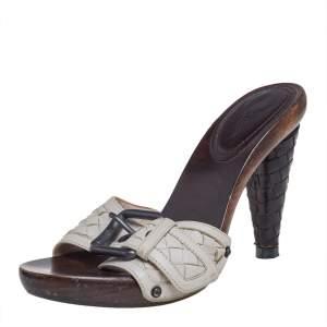 Bottega Veneta White Leather Intrecciato Slide Sandals Size 37.5