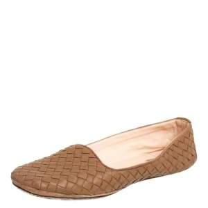 Bottega Veneta Brown Intrecciato Round Toe Ballet Flats Size 38