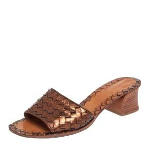 Bottega Veneta Metallic Bronze Intrecciato Leather Ravello Slide Sandals Size 40