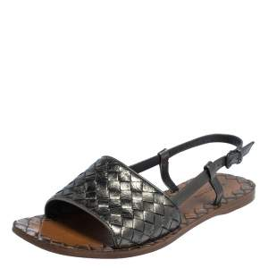 Bottega Veneta Metallic Grey Leather Slingback  Flat Sandals Size 37