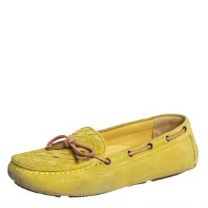 Bottega Veneta Yellow Intrecciato Suede Bow Slip On Loafers Sizs 36.5