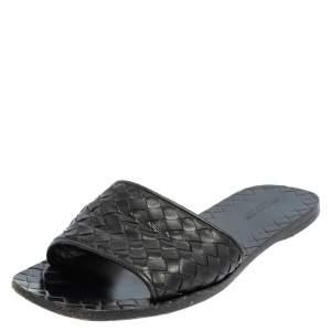 Bottega Veneta Black  Intrecciato Leather Flat Sandals Size 38
