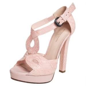 Bottega Veneta Pink Crocodile Leather Ankle Strap Sandals Size 36.5