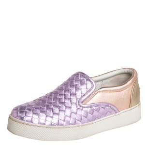 Bottega Veneta Multicolor Woven Leather Slip on Sneakers Size 36