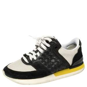 Bottega Veneta White/Black Mesh And Suede Intrecciato Leather Lace Up Low Top Sneakers Size 39