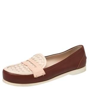Bottega Veneta Pink/Red Leather Intrecciato Detail Penny Loafer Size 39