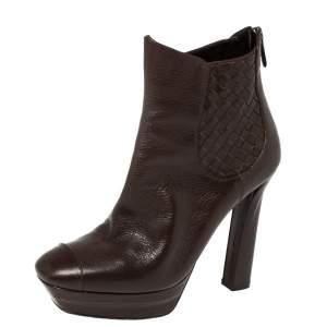 Bottega Veneta Brown Leather Intrecciato Platform Ankle Boots Size 38.5