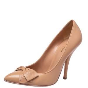 Bottega Veneta Beige Leather Bow Detail Pumps Size 39