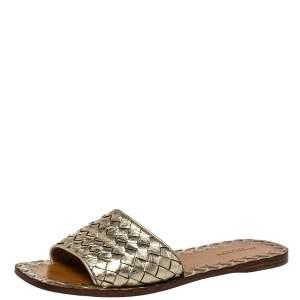 Bottega Veneta Gold Intrecciato Leather Slide Flats Size 38