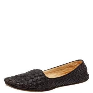 Bottega Veneta Brown Intrecciato Leather Ballet Flats Size38