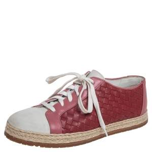 Bottega Veneta Pink/Grey Suede And Leather Intrecciato Sneakers Size 37.5