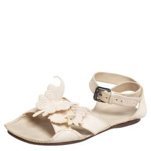 Bottega Veneta Cream Leather Butterfly Detail Flat Sandals Size 37.5