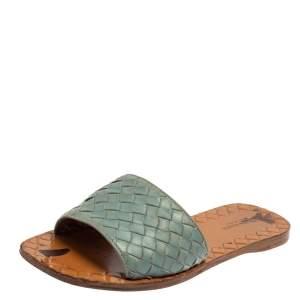 Bottega Veneta Blue Intrecciato Leather Flat Slides Size 36.5