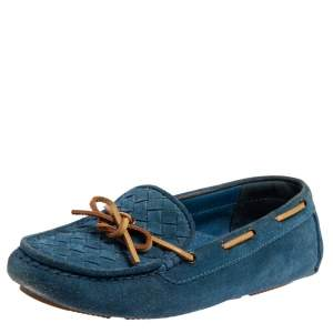 Bottega Veneta Blue Intrecciato Suede Bow Slip On Loafers Size 36