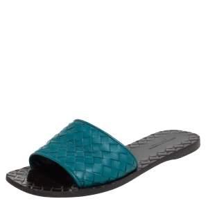 Bottega Veneta Blue Intrecciato Leather Flat Slide Size 36