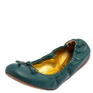 Bottega Veneta Blue Leather Scrunch Ballet Flats Size 36.5