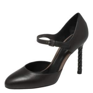 Bottega Veneta Charcoal Black Leather Intrecciato Heel D'orsay Pumps Size 36.5